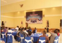 Zukfikar Imawan, Ketua DPD Nasdem kota Probolinggo saat memberikan sambutan
