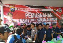 Ungkap Kasus Polresta Sidoarjo Dan Jajarannya, Musnakan Narkoba Dan Miras Bersama Forkopimda